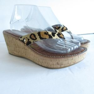 Sam Edelman Wedge Sandals Thongs Calf Hair Leopard